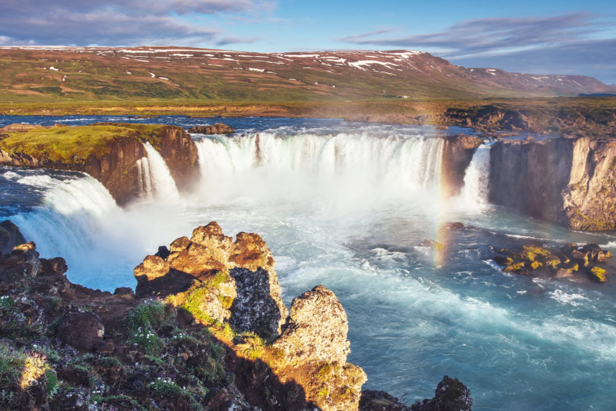 Godafoss waterfall during summer in Iceland