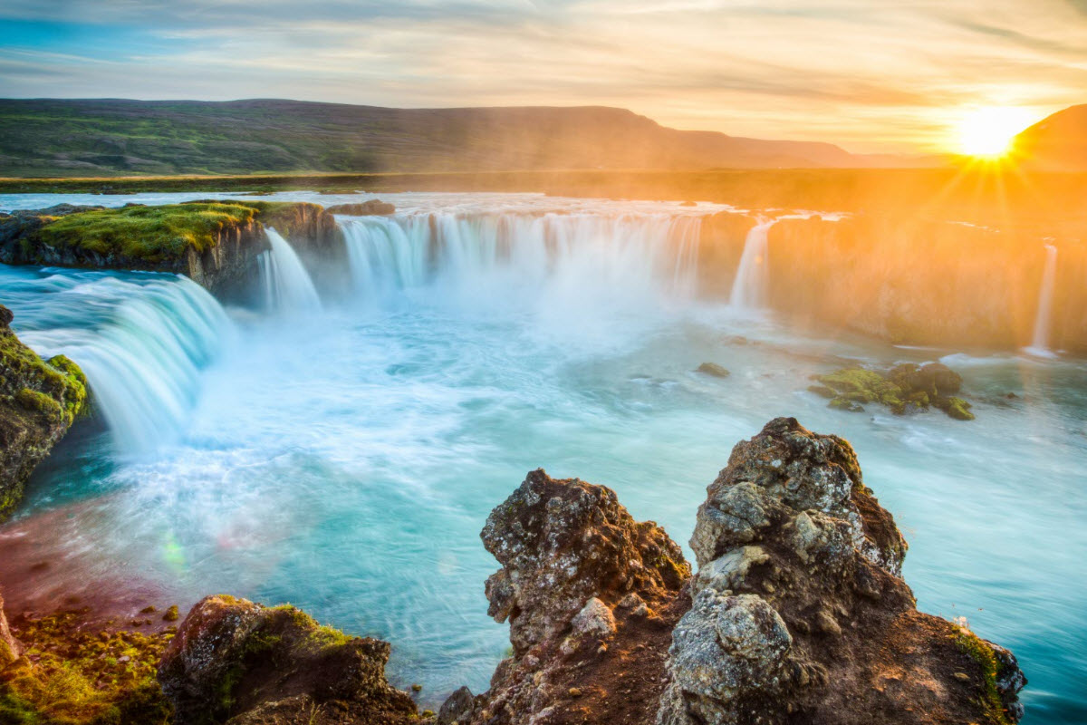 Sunset by Godafoss Waterfall in Iceland