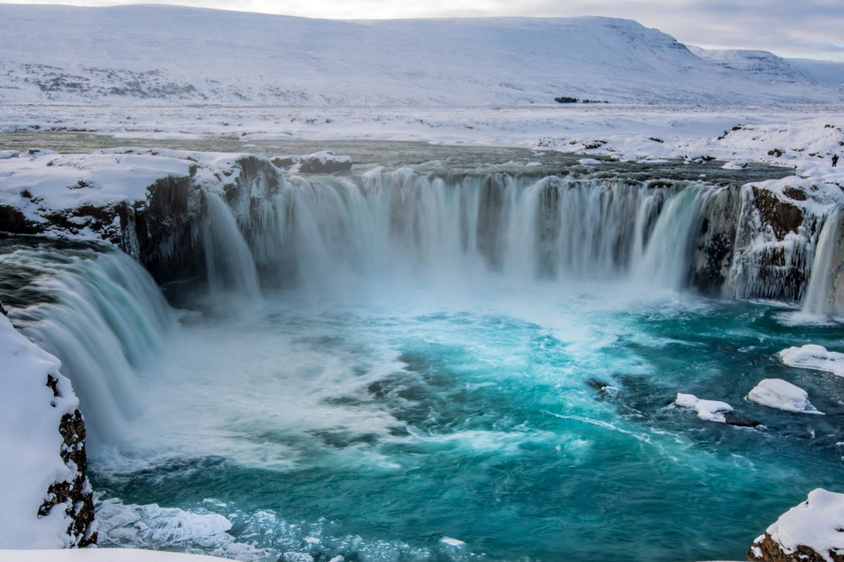 Godafoss during winter in Iceland