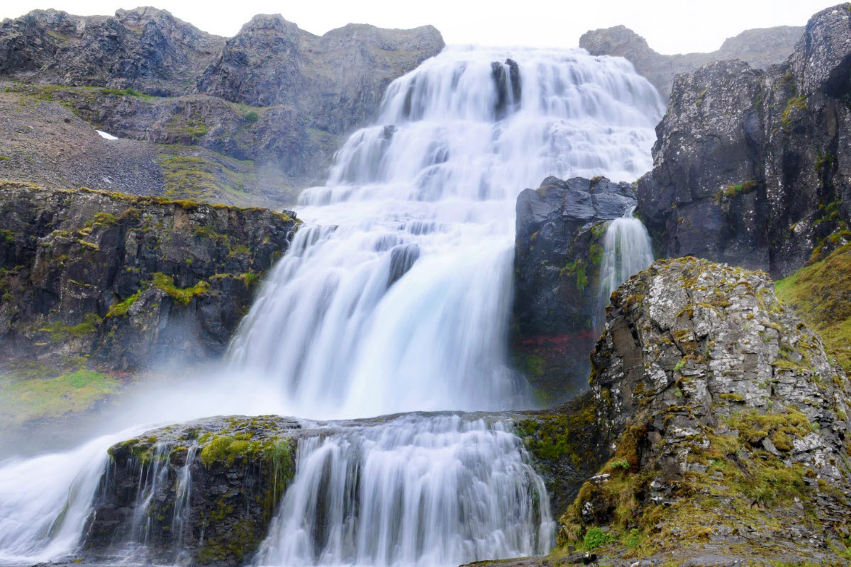 Dynjandi waterfall is located in the Westfjords of Iceland