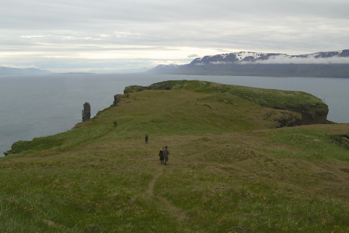 The view from Drangey island over Skagadjordur in north Iceland
