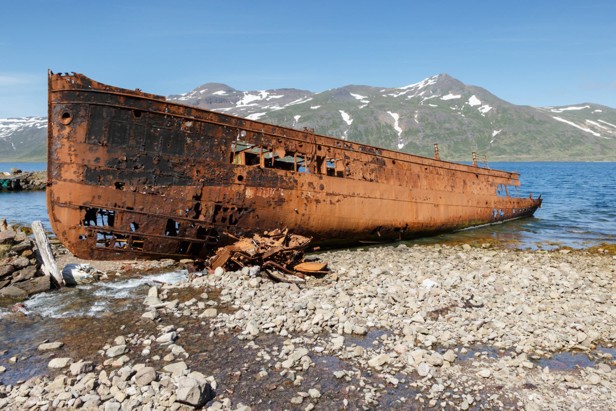 Old ship wreck in Djupavik